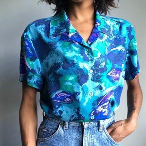 100% silk Hawaiian Blouse